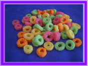 Fake Wax Fruity Circles Cereal, Assorted Colors