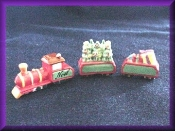 porcelain miniature christmas train, three train cars