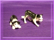 Border Collie Set Porcelain RND Miniature Collectible