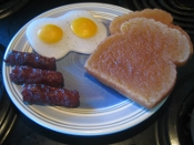 Wax Breakfast Meal, Fake eggs cooked bacon and toast