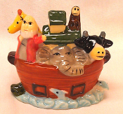 NOAH'S ARK, Porcelain Miniature Ark, Mini Christian Collectible
